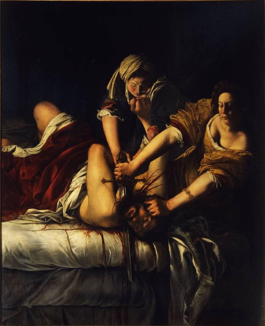 Painting of Artemisia Gentileschi, Judith Slaying Holofernes, c. 1614-20 C.E.