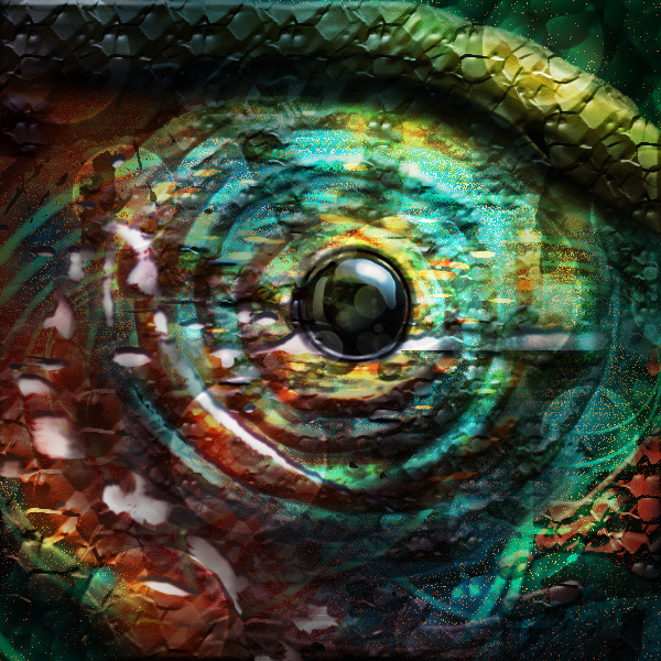 Digital rendering of a lizards eye.