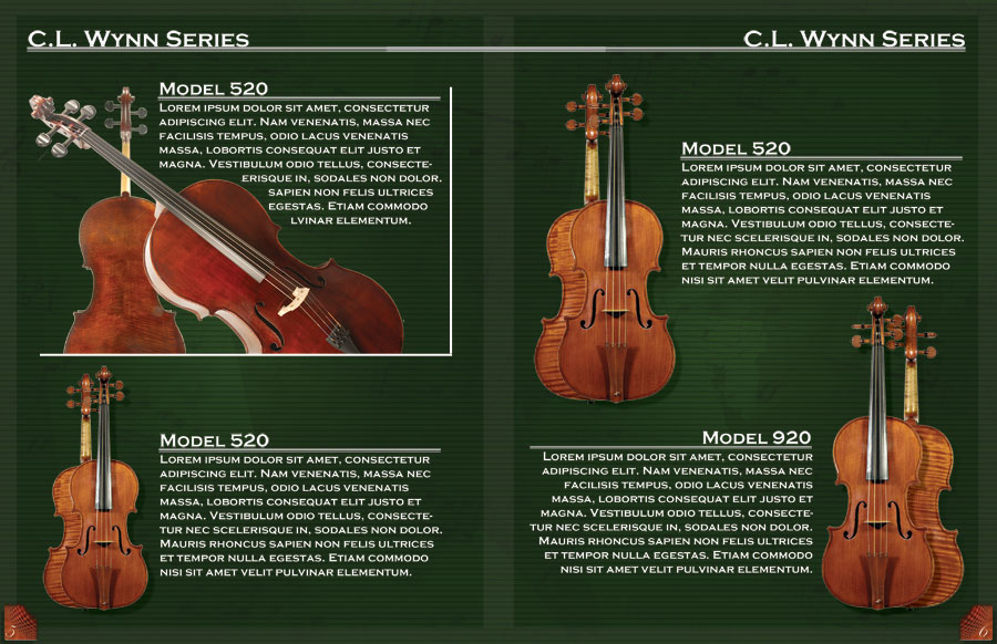 Catalog layout of CL Wynn Series violins, featuring four different types of violins.
