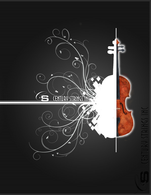 Catalog cover design of S Century Strings Violins.
