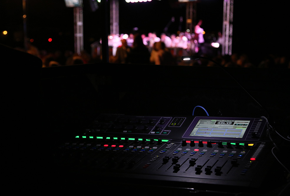 Close up of lighting controller at a live event.