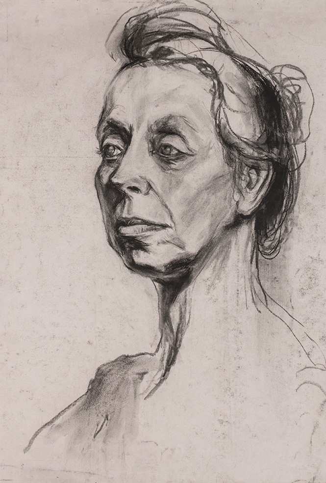 Charcoal illustration of old lady with a bun.