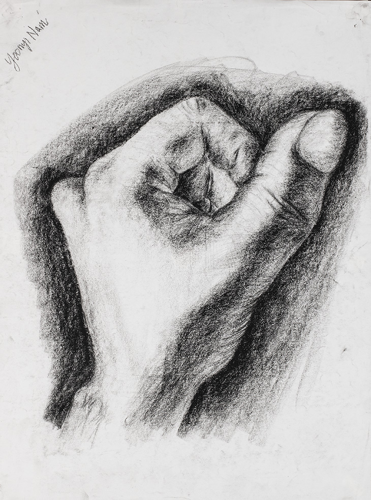 Charcoal illustration of a closed hand.