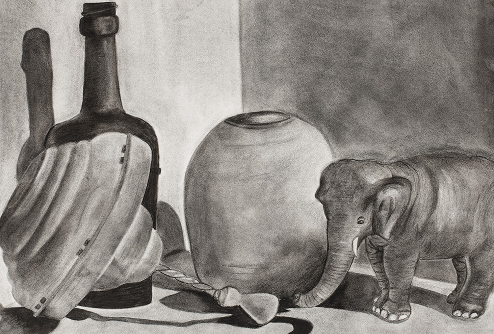 Charcoal illustration of tabletop with two bottles a toy elephant, a top and vase.