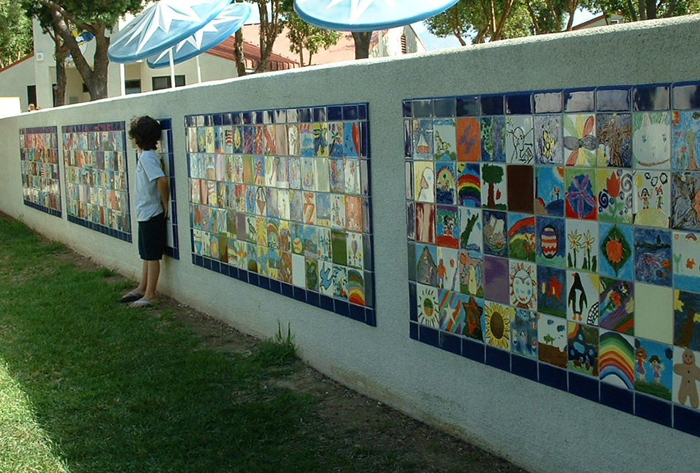 Chino Hills Elementary School wall with ceramic tile designs.