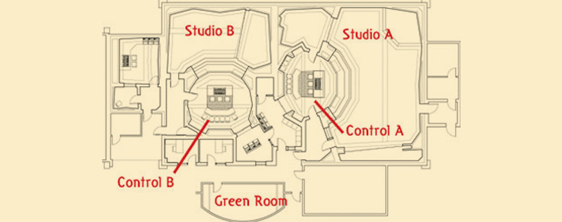Floor plan showing studio & control booth A and B.